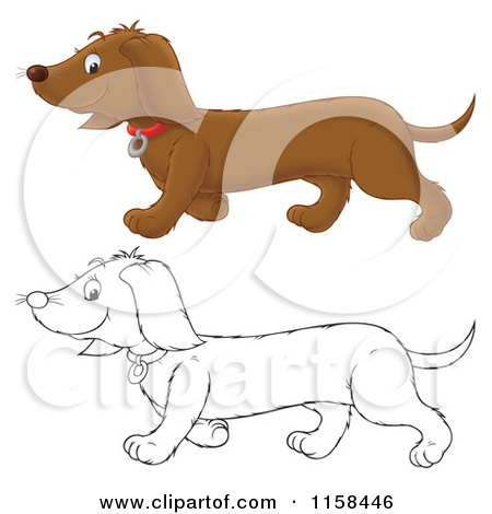 Cartoon of a Outlined and Colored Happy Doxie Dog Walking - Royalty Free Illustration by Alex Bannykh