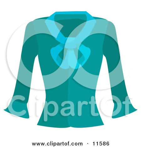 Turquoise Blue Long Sleeved Shirt Clipart Picture by AtStockIllustration