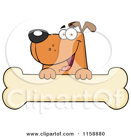 Cartoon of a Happy Brown Dog Smiling over a Bone Sign - Royalty Free Vector Clipart by Hit Toon