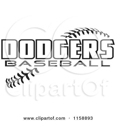 1158893-Clipart-Of-Black-And-White-Dodgers-Baseball-Text-Over-Stitches ...