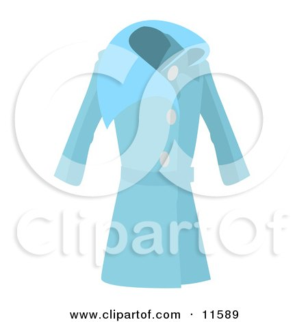 Long Blue Ladies Coat Clipart Picture by AtStockIllustration