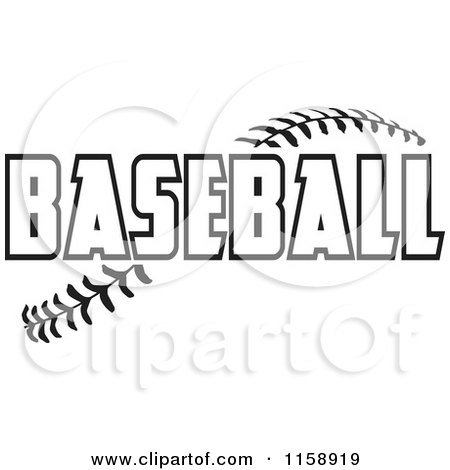 Clipart of Black and White Baseball Text over Stitches - Royalty Free Vector Illustration by Johnny Sajem