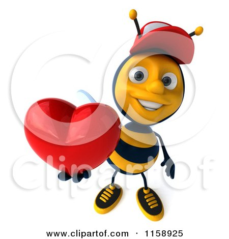 Clipart of a 3d Happy Bee Wearing a Hat and Holding up a Heart - Royalty Free CGI Illustration by Julos