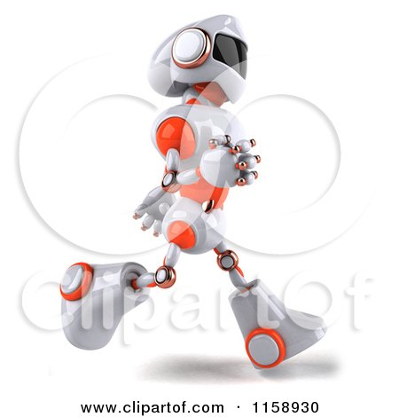 Clipart of a 3d White and Orange Male Techno Robot Running 2 - Royalty Free CGI Illustration by Julos