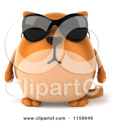 Clipart of a 3d Chubby Ginger Cat Wearing Sunglasses - Royalty Free CGI Illustration by Julos