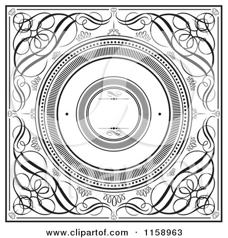 Clipart of Black and White Swirl Wedding Invitation with Round Copyspace - Royalty Free Vector Illustration by BestVector