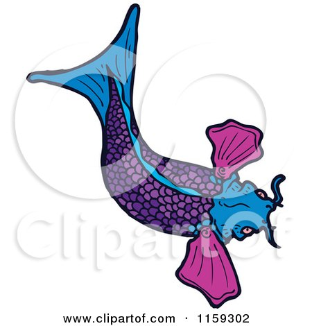 Royalty free rf fish clipart illustrations vector for Purple koi fish