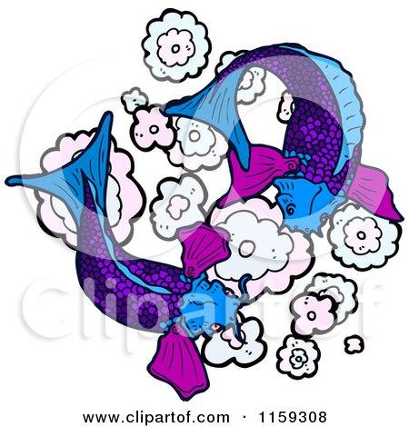 Cartoon of Purple Koi Fish - Royalty Free Vector Illustration by lineartestpilot