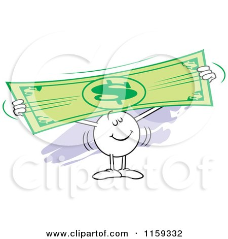 Cartoon of a Moodie Character Holding up and Stretching a Dollar Bill - Royalty Free Vector Clipart by Johnny Sajem