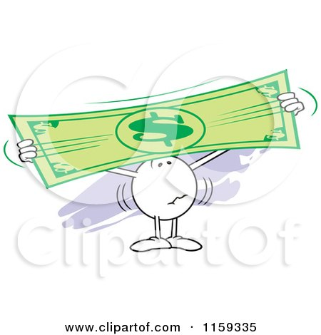 Cartoon of a Worried Moodie Character Holding up and Stretching a Dollar Bill - Royalty Free Vector Clipart by Johnny Sajem