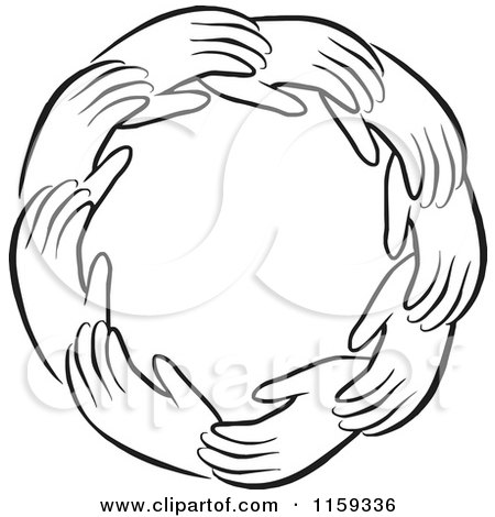 Cartoon of a Black and White Circle of Hands - Royalty Free Vector Clipart by Johnny Sajem