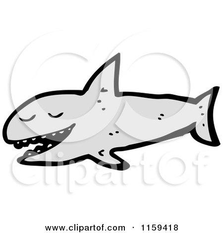 Cartoon of a Shark - Royalty Free Vector Illustration by lineartestpilot