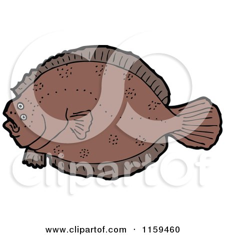 Cartoon of a Flounder Fish - Royalty Free Vector Illustration by lineartestpilot