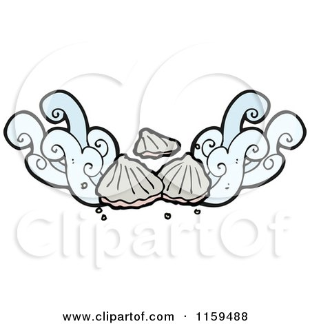 Cartoon of a Sea Shell and Splash Design Element - Royalty Free Vector Illustration by lineartestpilot