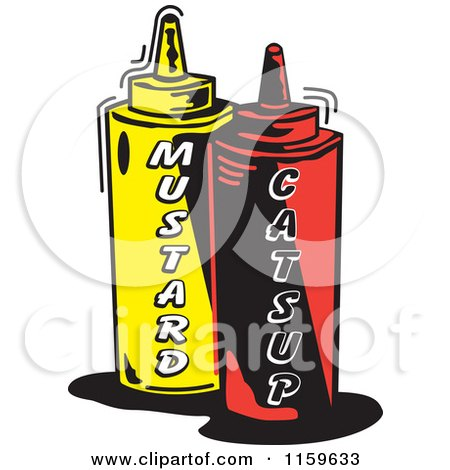 Cartoon of Mustard and Catsup Condiment Bottles - Royalty Free Vector Clipart by Andy Nortnik