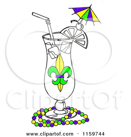Clipart of a Mardi Gras Cocktail in a Hurrcane Glass with Beads - Royalty Free Illustration by LoopyLand