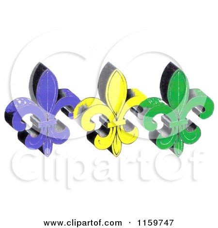 Clipart of Mardi Gras Fleur De Lis - Royalty Free Illustration by LoopyLand