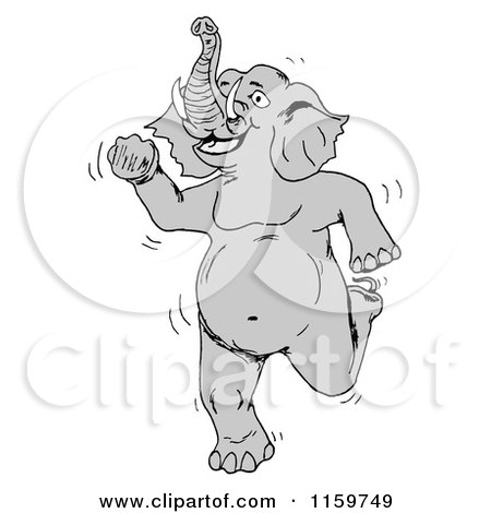 Cartoon of a Happy Elephant Dancing Upright - Royalty Free Vector Clipart by tdoes