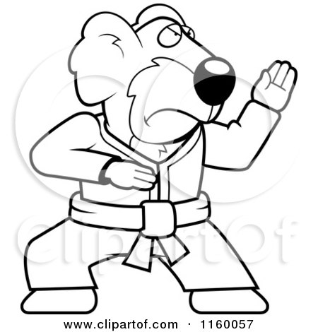 Cartoon Clipart Of A Black And White Karate Koala