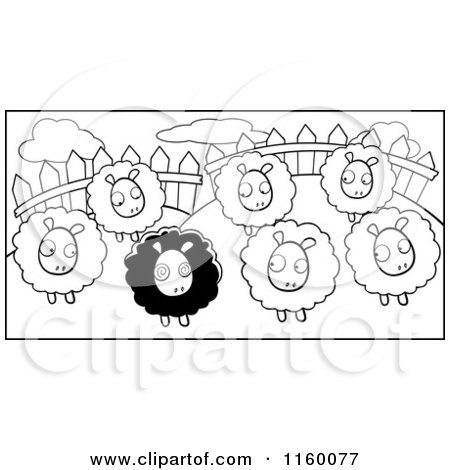 Cartoon Clipart Of A Black And White Group of White Sheep Looking at a Black Sheep in a Pasture - Vector Outlined Coloring Page by Cory Thoman