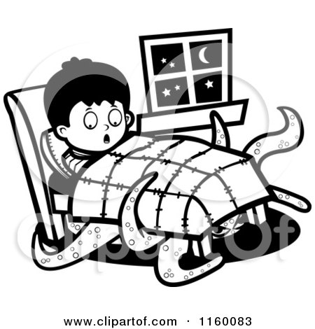 Cartoon clipart of a black and white tentacled monster emerging