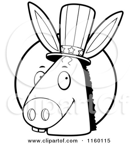 Cartoon Clipart Of A Black And White Democratic Donkey Head in Front of a Circle - Vector Outlined Coloring Page by Cory Thoman