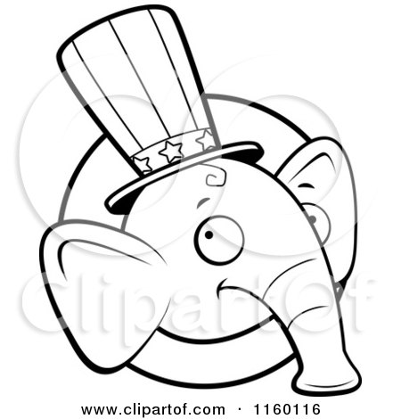Cartoon Clipart Of A Black And White Republican Elephant Face over a Circle - Vector Outlined Coloring Page by Cory Thoman