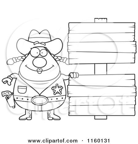 Cartoon Clipart Of A Black And White Chubby Cowgirl by Double Wooden Signs - Vector Outlined Coloring Page by Cory Thoman