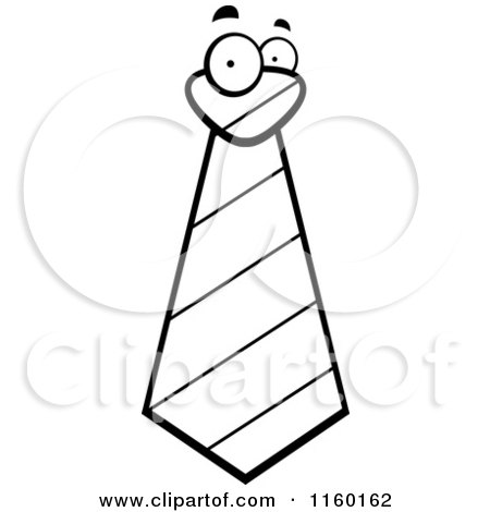 Cartoon clipart of a black and white striped tie face for Necktie coloring page