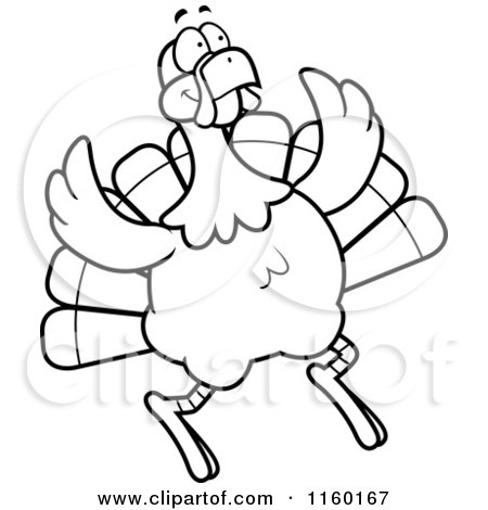Cartoon Clipart Of A Black And White Turkey Bird Jumping ...