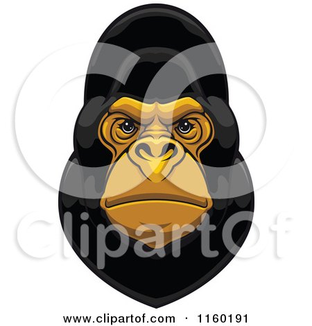 Clipart of a Black Gorilla Face - Royalty Free Vector Illustration by Vector Tradition SM