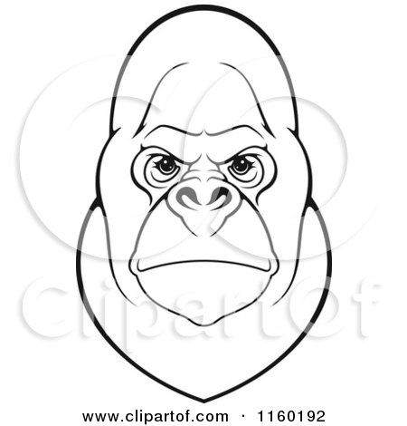 Clipart of a Black and White Gorilla Face - Royalty Free Vector Illustration by Vector Tradition SM