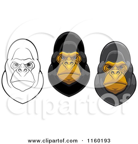 Clipart of Gorilla Facees - Royalty Free Vector Illustration by Vector Tradition SM