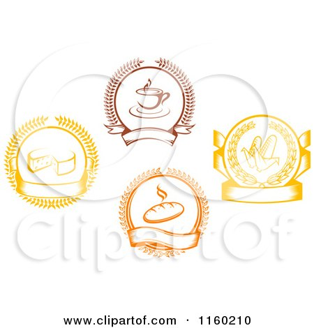 Clipart of Coffee Corn Bread and Cheese Laurel and Banner Logos - Royalty Free Vector Illustration by Vector Tradition SM