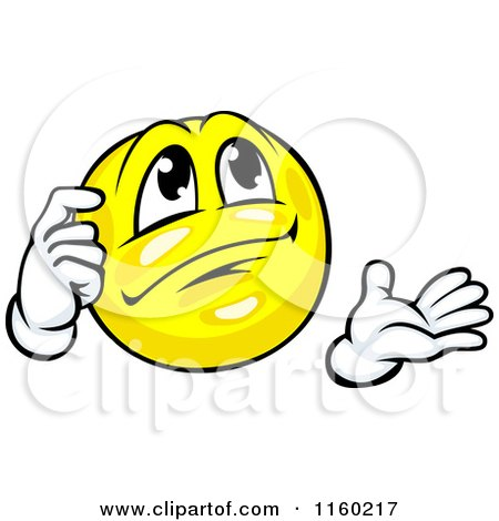 Clipart of a Yellow Emoticon Smiley Scratching His Head and Thinking - Royalty Free Vector Illustration by Vector Tradition SM