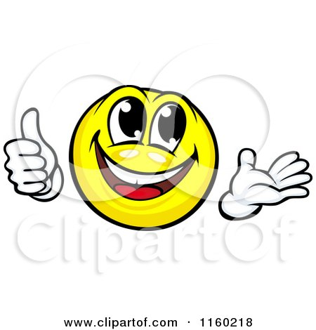 Clipart of a Yellow Emoticon Smiley Holding a Thumb up and Presenting - Royalty Free Vector Illustration by Vector Tradition SM