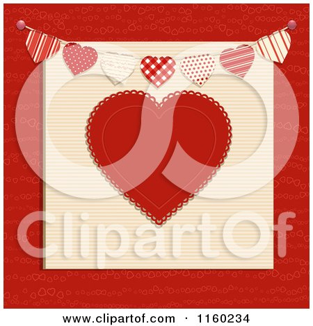 Clipart of a Red Heart with a Bunting Banner  Royalty Free Vector Illustration by elaineitalia