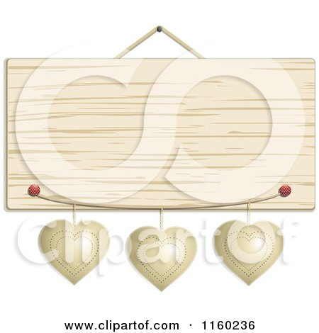 Clipart of a Hanging Wooden Sign with Metal Hearts - Royalty Free Vector Illustration by elaineitalia