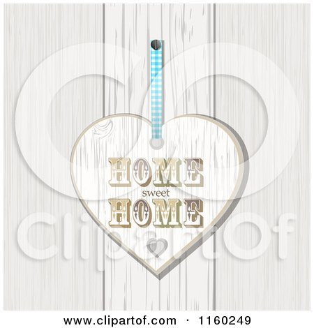 Clipart of a White Washed Home Sweet Home Heart Plaque over Wood - Royalty Free Illustration by elaineitalia