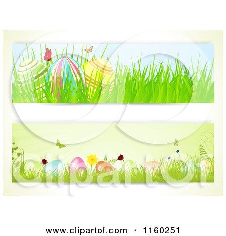 Clipart of Easter Website Borders of Butterflies and Eggs - Royalty Free Vector Illustration by elaineitalia