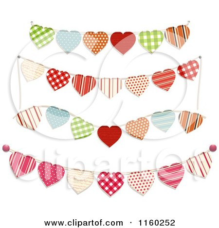 Clipart of Heart Bunting Party Banners - Royalty Free Vector Illustration by elaineitalia