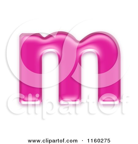 Clipart of a 3d Pink Jelly Lowercase Alphabet Letter M - Royalty Free CGI Illustration by chrisroll