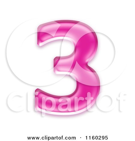 Clipart of a 3d Pink Jelly Number 3 - Royalty Free CGI Illustration by chrisroll