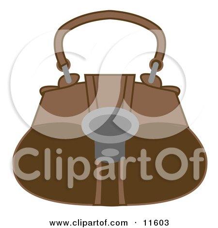 Brown Handbag Purse Clipart Picture by AtStockIllustration