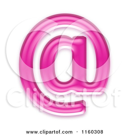 Clipart of a 3d Pink Jelly Arobase at Email Symbol - Royalty Free CGI Illustration by chrisroll