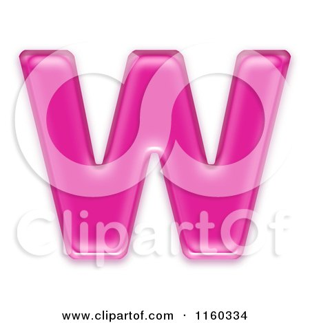 Clipart of a 3d Pink Jelly Capital Alphabet Letter W - Royalty Free CGI Illustration by chrisroll