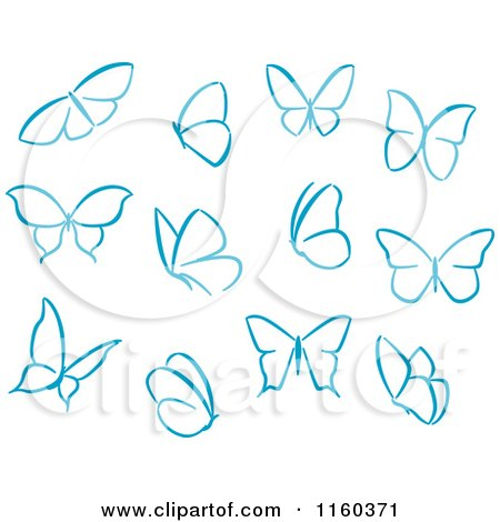 Clipart of Simple Blue Butterflies - Royalty Free Vector ...