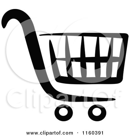 Clipart of a Black and White Shopping Cart Version 5 - Royalty Free Vector Illustration by Vector Tradition SM