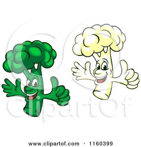 Clipart of Happy Broccoli and Cauliflower Mascots Holding Thumbs up - Royalty Free Vector Illustration by Vector Tradition SM