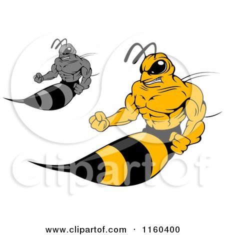 Clipart of Wasps Sticking out Their Stingers - Royalty Free Vector Illustration by Vector Tradition SM